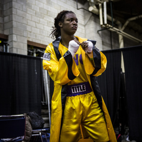 Claressa gets warm before fighting in the semifinals at the PAL tournament in Toledo, Ohio.  A year ago, Claressa fought her first non-junior amateur fight at PAL, qualifying her to compete in the Olympic Trials, which eventually led her to the Gold Medal in the Olympic Games.  This is her right before her first fight since the Olympics.