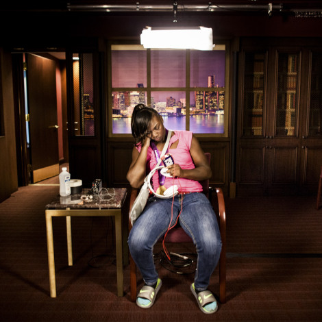 """Olympic Gold Medal Boxer Claressa """"T-Rex"""" Shields waits to start a live ESPN interview in a TV Studio in Southfield, Michigan."""