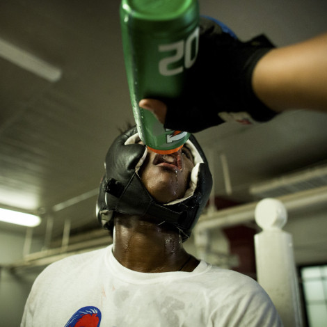 "Claressa ""T-Rex"" Shields drinks water during a sparring session at FWC Berston Gym in Flint, Michigan"