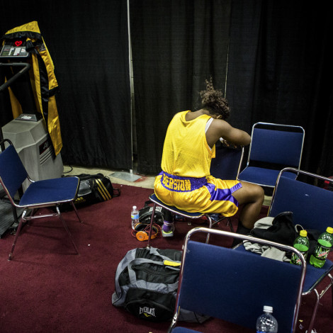Claressa Shields waits for her first post-Olympic fight at the PAL tournament in Toledo, Ohio.