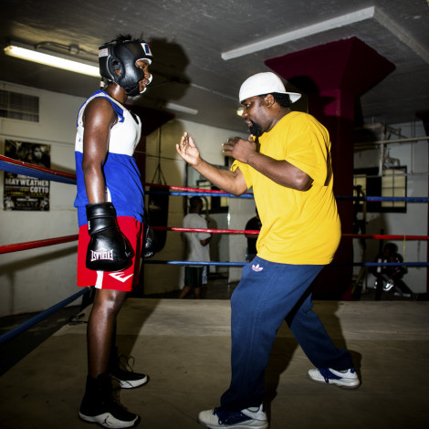 Coach Crutchfield coaches Claressa Shields during a sparring session at FWC Berston Gym in Flint, Michigan.